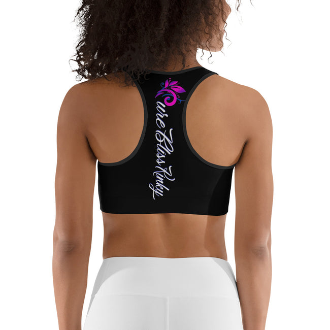 Pure Bliss Kinky (Black) All-Over Print Sports Bra