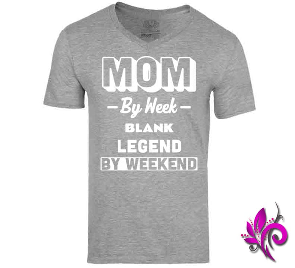 Mom By Week Blank Legend By Weekend V-Neck / Sport Grey / Small Chicks