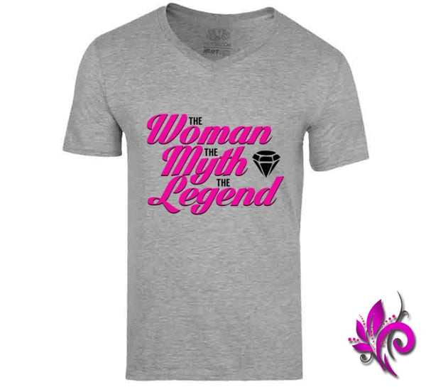 The Woman The Myth The Legend V-Neck / Sport Grey / Small T-Shirt