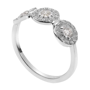 Triple Solitaire Ring Round W-D