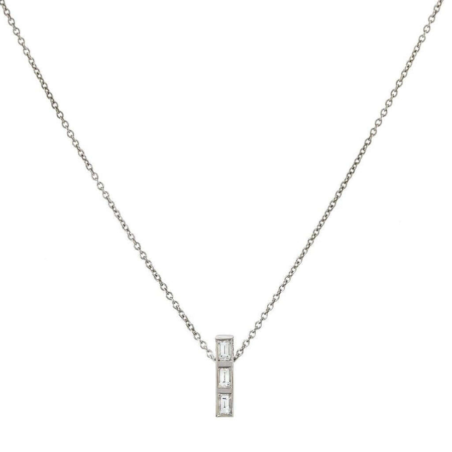 Thread Baguette 3 Diamond Pendant