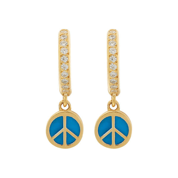 Enamel Peace Mini Hoops