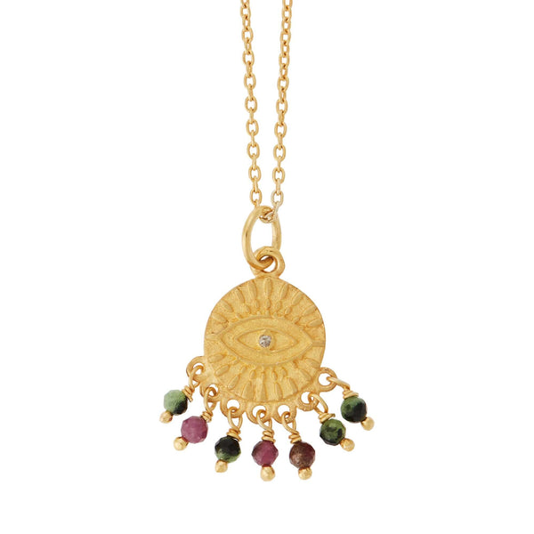All Seeing Eye Ruby-Zoisite Tear Necklace