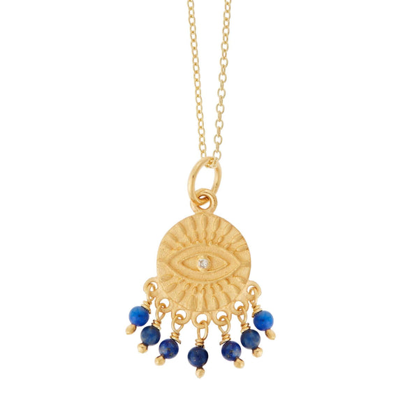 All Seeing Eye Lapis Tear Necklace