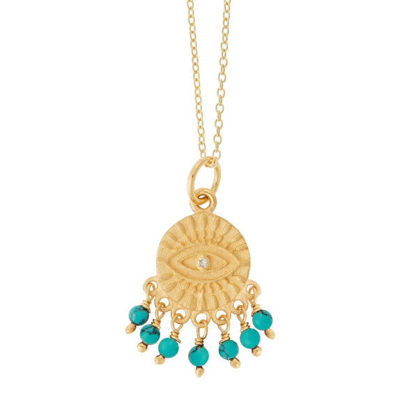 All Seeing Eye Turquoise Tear Necklace