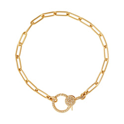 Diamond Lock Widelink Chain Bracelet Y14-D