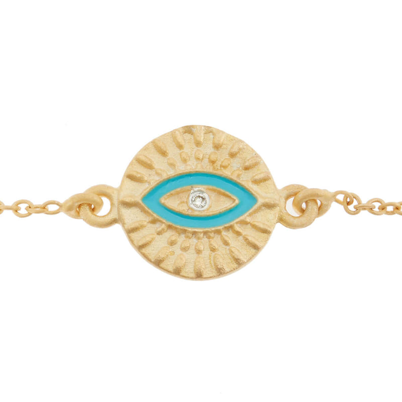 All Seeing Eye Bracelet with Turquoise Enamel