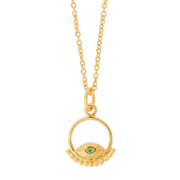 All Seeing Eye Green Pyramid Necklace