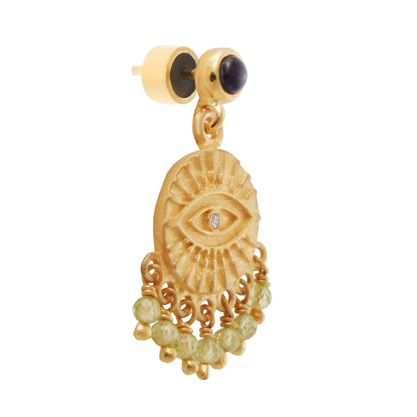 All Seeing Eye Tear Earrings with Peridot & Iolite