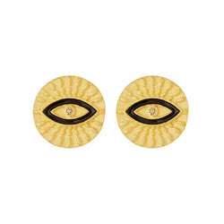 All Seeing Eye Studs with Black Enamel