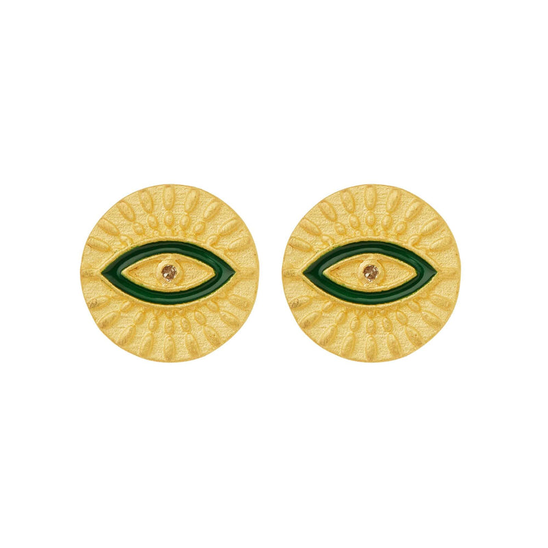 All Seeing Eye Studs with Green Enamel