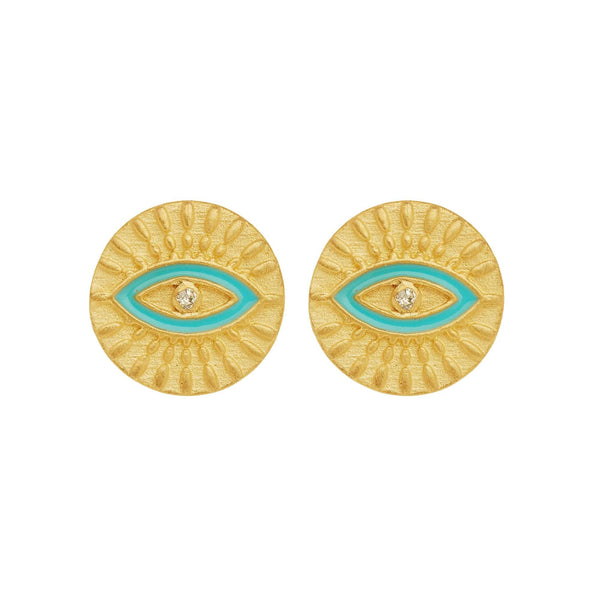 All Seeing Eye Studs with Turquoise Enamel