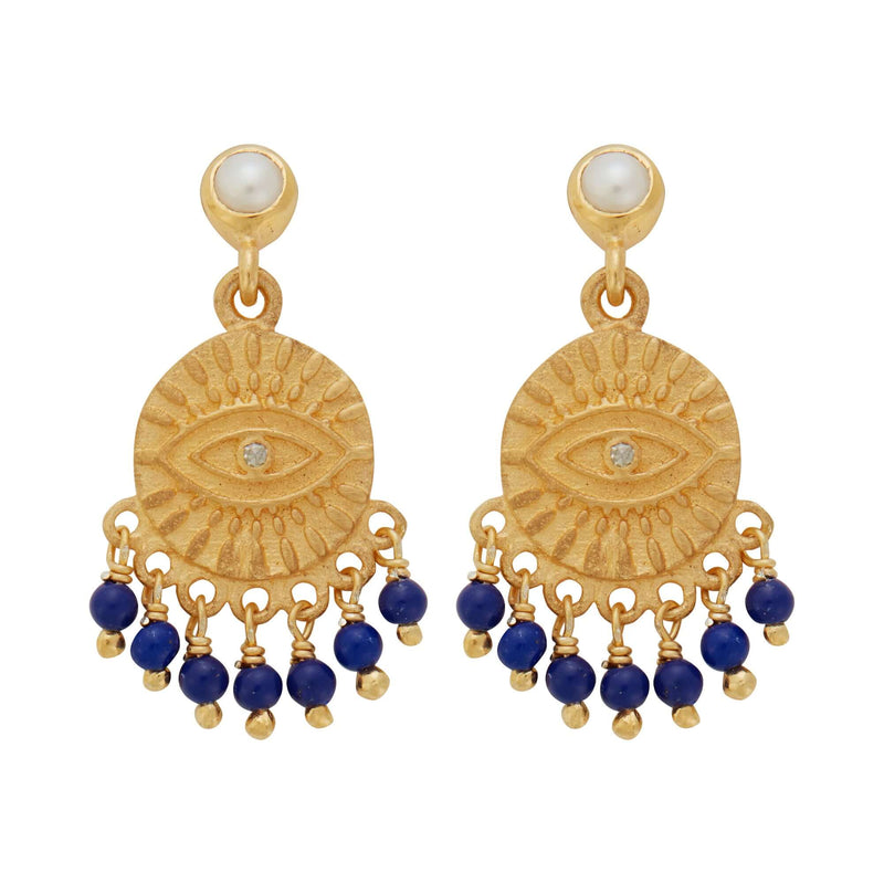 All Seeing Eye Tear Earrings with Pearl & Lapis