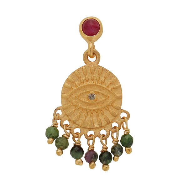 All Seeing Eye Tear Earrings with Ruby Cab & Ruby Zoisite