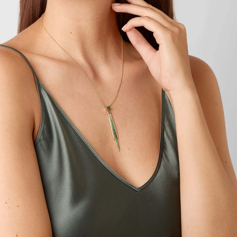 Grass Leaf Drops Necklace