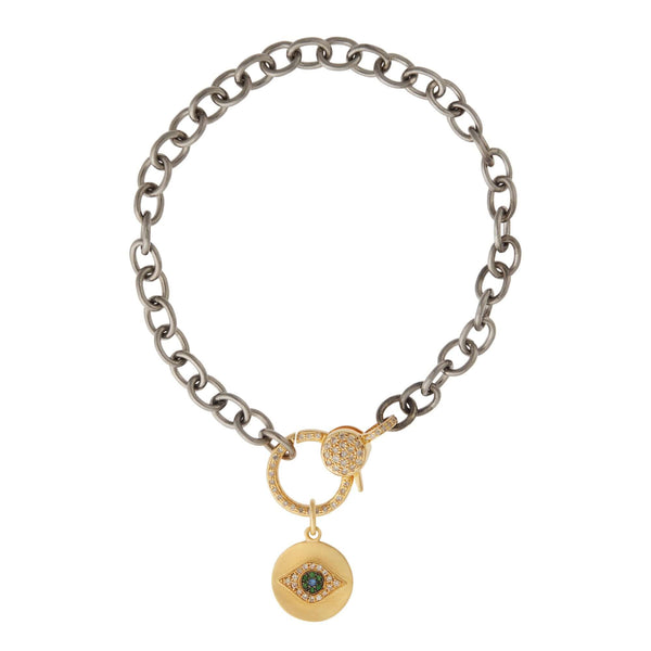 Mini Golden Eye Diamond Lock Chain Bracelet