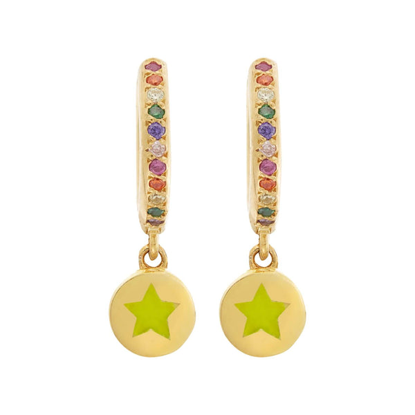 Enamel Rainbow Star Mini Hoops