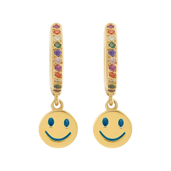 Enamel Rainbow Smiley Mini Hoops