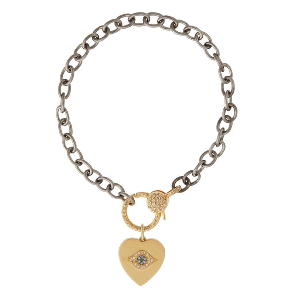 Eye Heart Diamond Lock Chain Bracelet