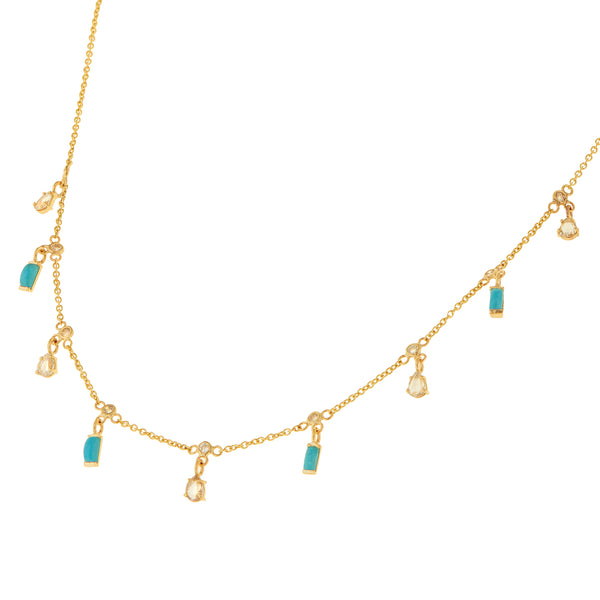 Turquoise Drops Necklace Y14-D-TURQ