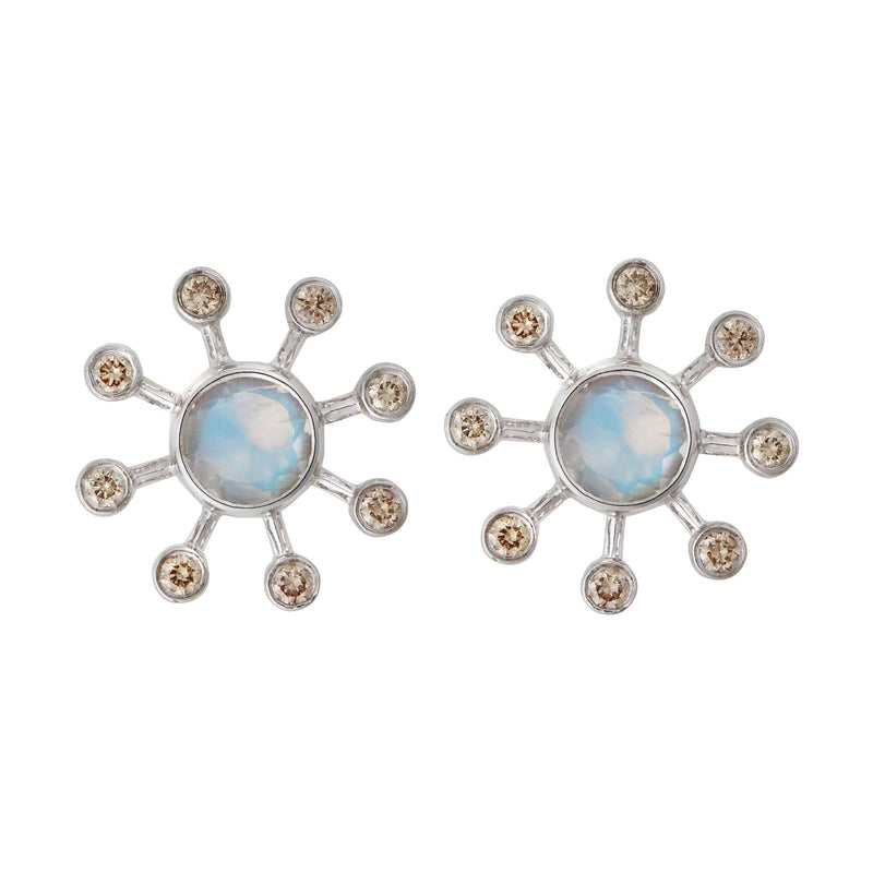 Moonstone Blossom Studs W-D