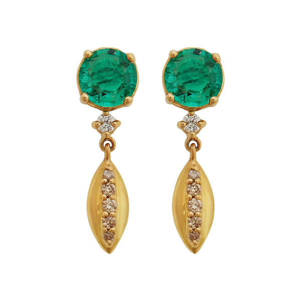 Grass Single Dewdrop Earrings Y-EM-D-TTLB