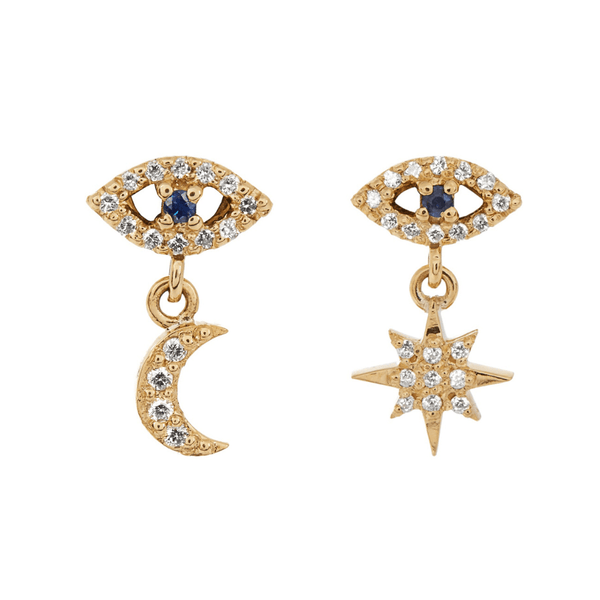 Eye Moon Star Studs