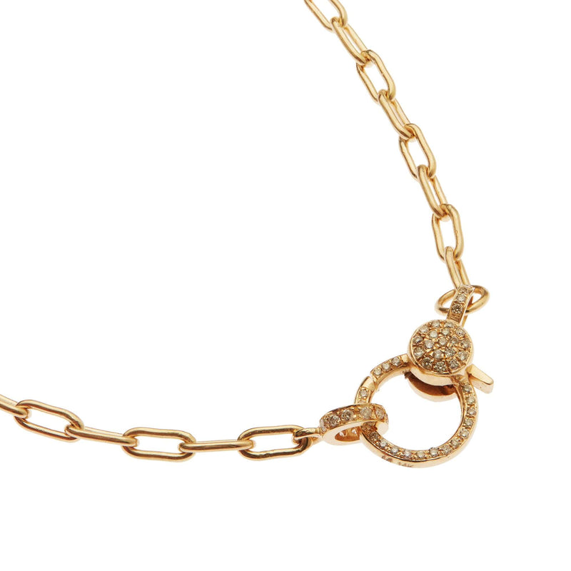 Diamond Lock Oval Chain Necklace Y14-D