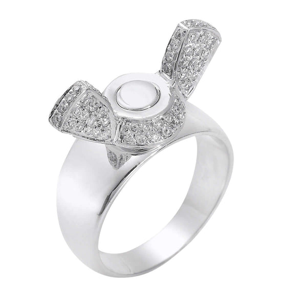 Butterfly Screw Ring Pave W-D