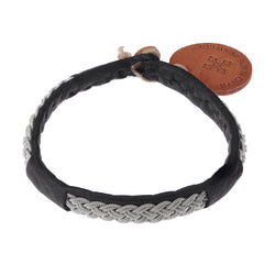 Black Leather & Pewter Bracelet