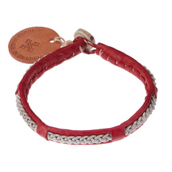 Red Leather & Pewter Bracelet