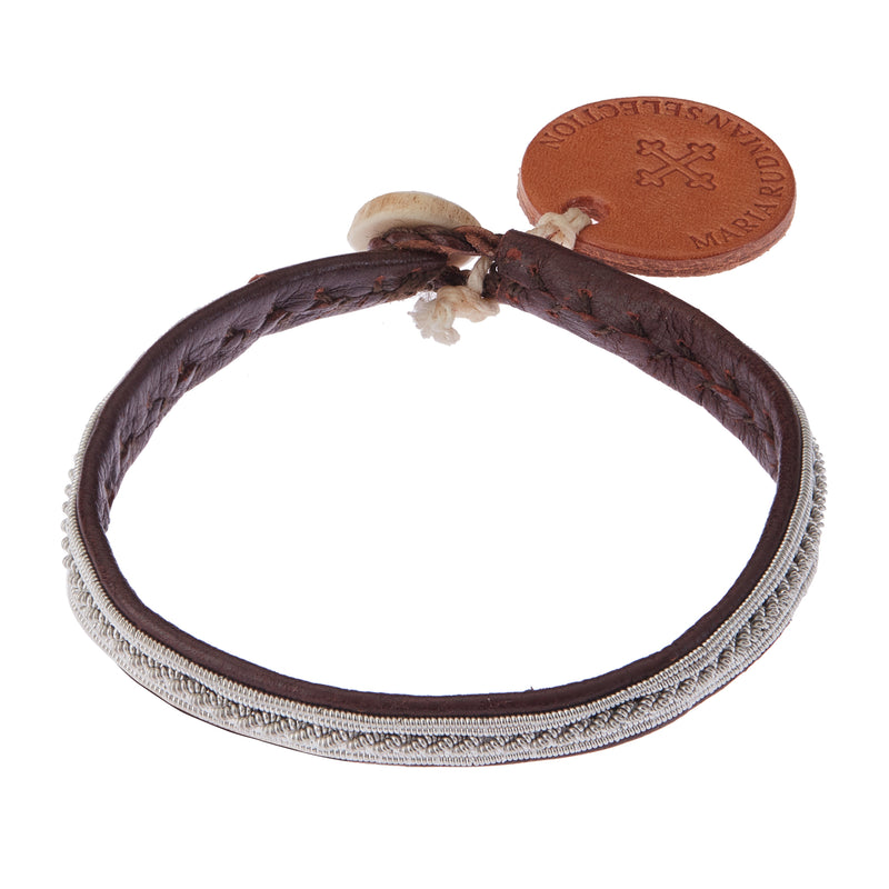 Brown Leather & Pewter Bracelet