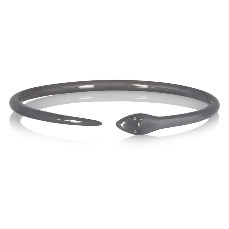 Tiger Snake Bangle with Grey Diamonds
