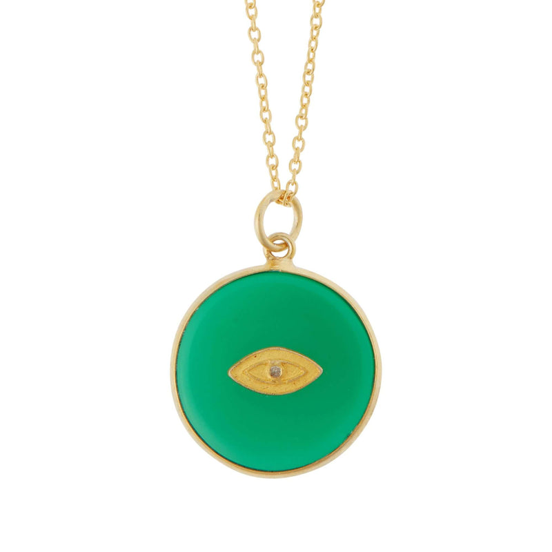 All Seeing Round Eye Necklace with Green Onyx