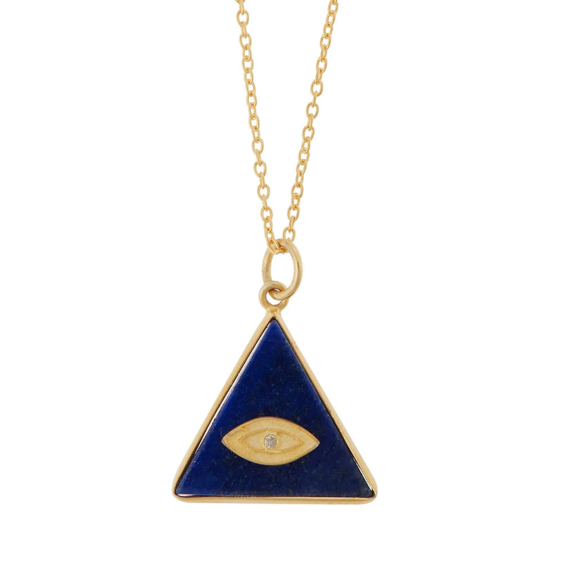 All Seeing Triangle Eye Necklace with Lapis