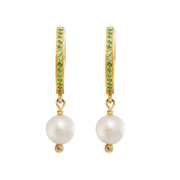 Pearl Drop Mini Hoops slv-yp-ts
