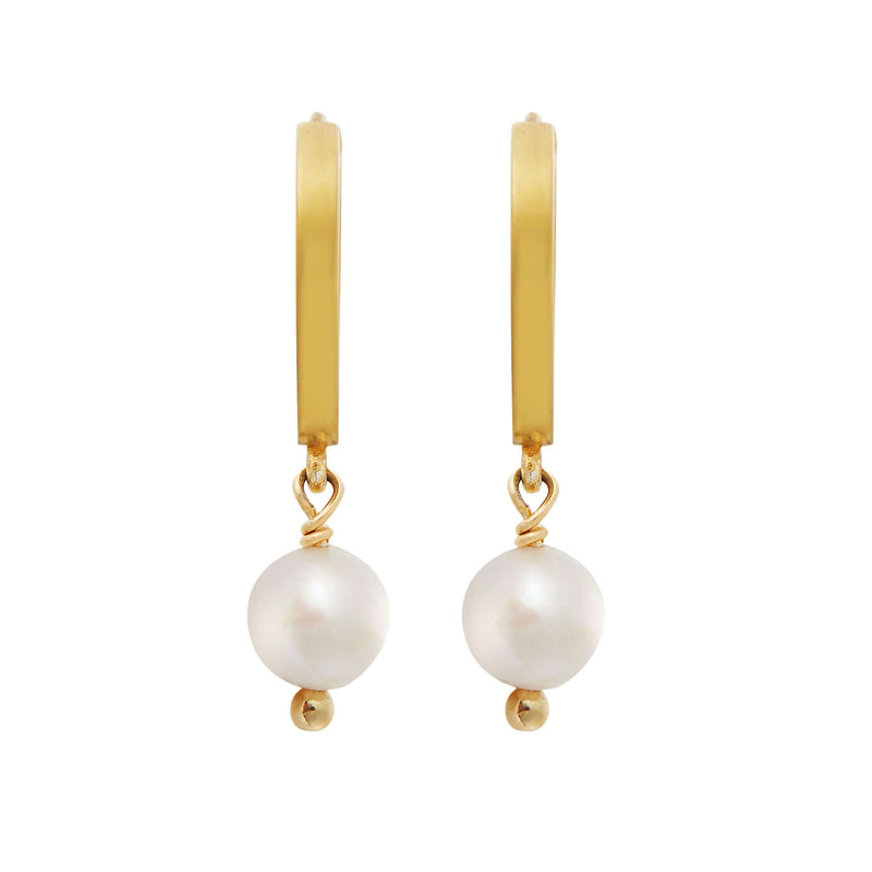 Pearl Drop Mini Hoops slv-yp