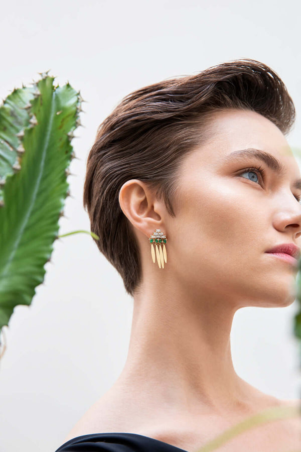 Grass Spike Earrings Y-D-EM