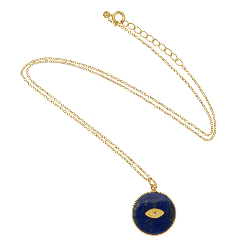 All Seeing Round Eye Necklace with Lapis