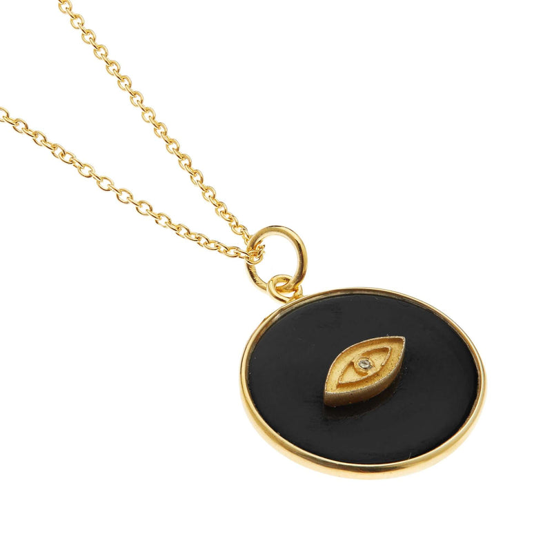 All Seeing Round Eye Necklace with Black Onyx