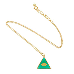All Seeing Triangle Eye Necklace with Green Onyx