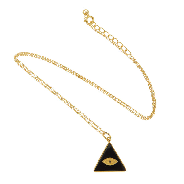 All Seeing Triangle Eye Necklace with Black Onyx