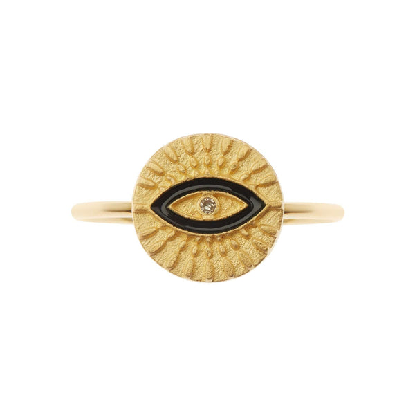 All Seeing Eye Ring with Black Enamel
