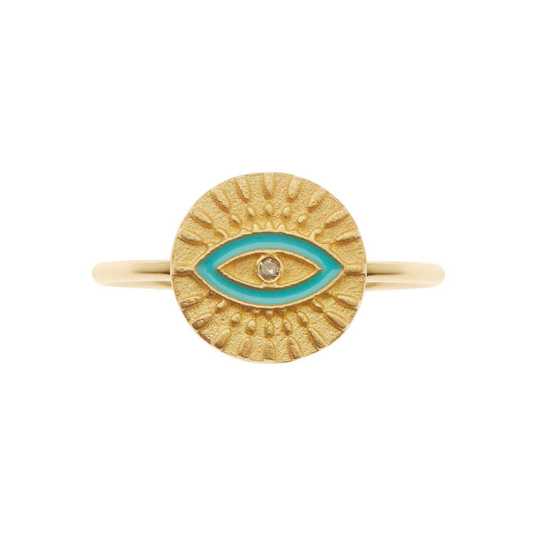 All Seeing Eye Ring with Turquoise Enamel