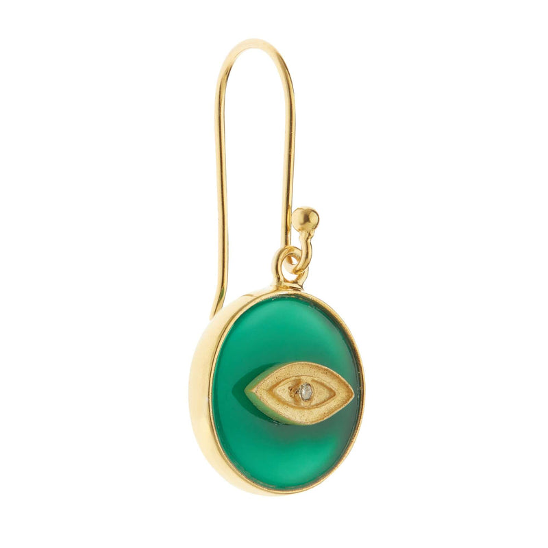 All Seeing Eye Earrings with Green Onyx
