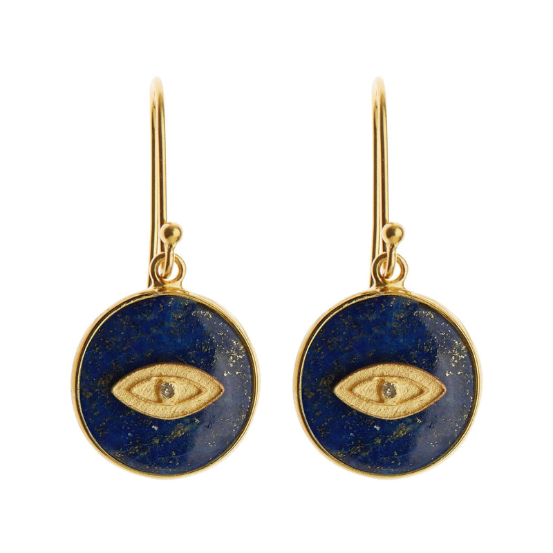 All Seeing Eye Earrings with Lapis