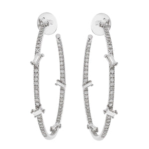 Baguette Diamond Hoops W-D