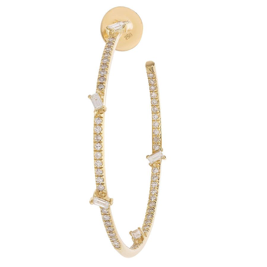 Baguette Diamond Hoops Y-D