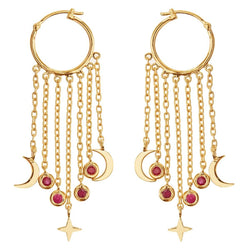 Falling Moon Star Hoops SLV-YP-RU