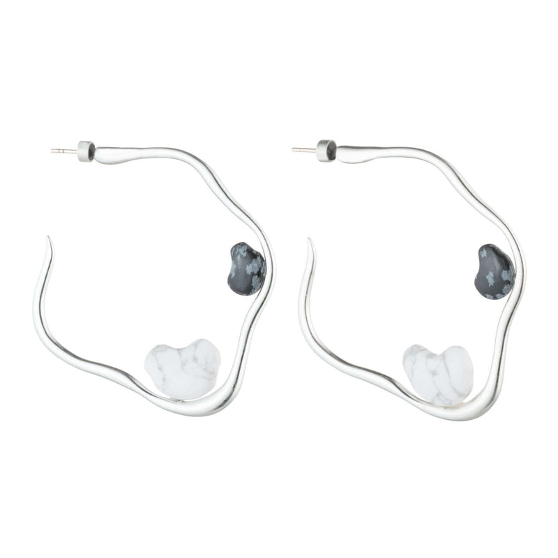Snowflake Howlite Hoops Slv-So-H